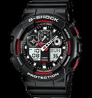 Часы Casio Original G-Shock GA100-1A4 черные с красным, фото 1