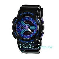 Мужские часы Casio G-Shock GA-110 черные с фиолетовым