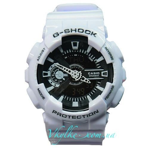 Мужские часы Casio G-Shock GA-110 белые с черным дисплеем