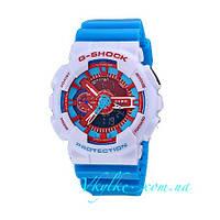 Мужские часы Casio G-Shock GA-110 голубые с белым
