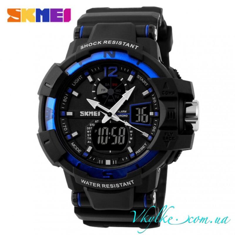 Водонепроницаемые часы Skmei Shock Resistant черные с синим