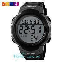 Мужские спортивные часы Skmei 1068 черные с серым