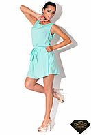 Платье женское короткое с карманами Мятное (норма и батал)