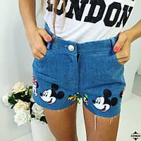 Шорты джинсовые с накаткой Мики Маус по низу 132 (МАЛ)