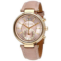 Часы Michael Kors Sawyer Chronograph Rose Dial Leather Band МК2529