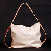 Кремовая женская сумка-мешок бежевые вставки