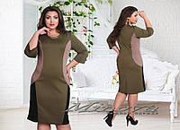 Платье №304-оливка+черный