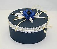 Коробка круглая синяя с декором