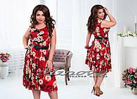 Платье №00145-темно-синий+красные цветы