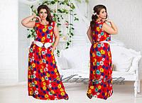 Платье П№330(ш.д)-красный+цветы