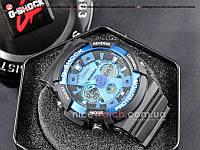 Часы мужские Копия Casio G-Shock Casio GA-200 Black/Blue Черные с Синим Black Dial Blue
