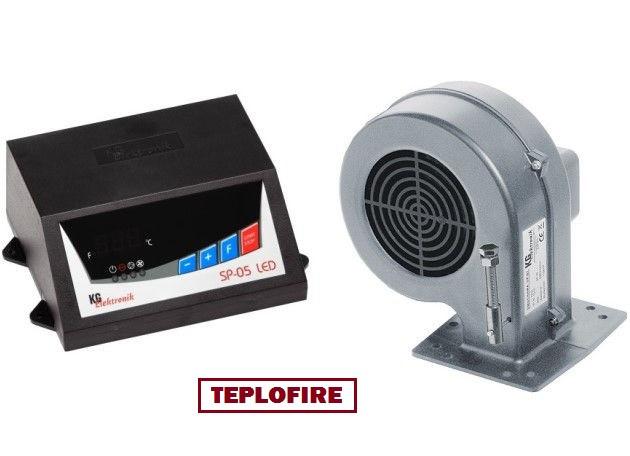 Блок управления и вентилятор KG Electronic SP05 LED + DP-02 для твердотопливного котла