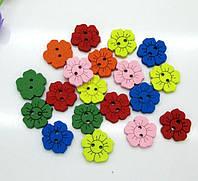 Пуговица мелкие цветочки микс дерево 15 мм 5 штук