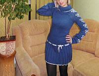 Вязанная женская туника с пояском