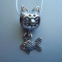 Шарм-подвеска Кот и Рыбка для браслета Пандора
