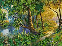"""Схема для вышивки бисером """"Лесной пруд"""""""