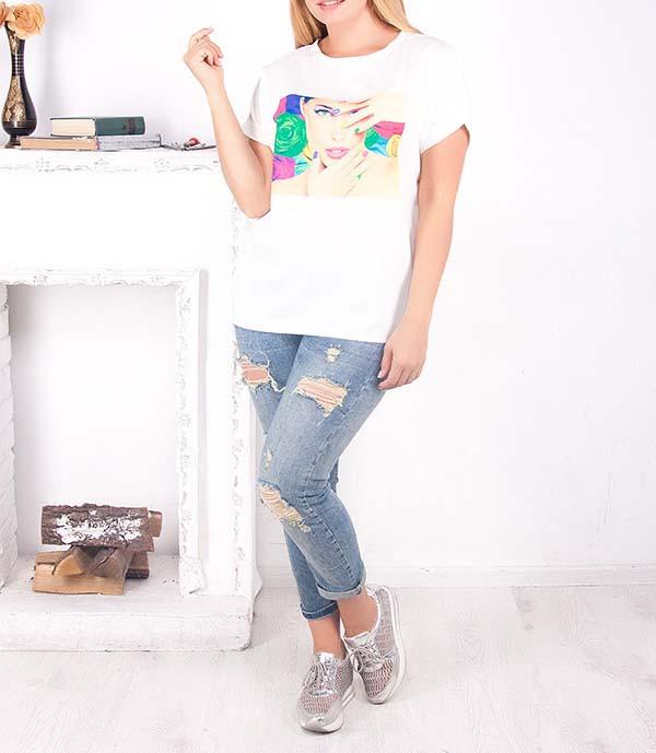 """Красивая удлиненная футболка """"Дэви"""" для полных девушек, до 64 размера"""