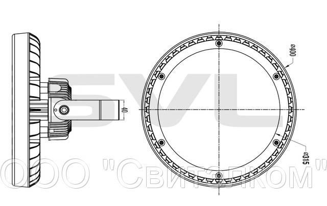 Габаритные размеры светодиодного прожектора ORBIS-F 120W