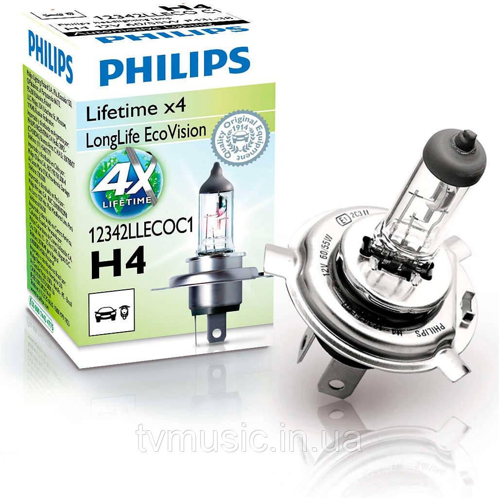 Галогенная лампа Philips LongLife EcoVision H4 12V (12342LLECOC1)
