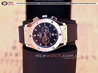 Кварцевые мужские наручные часы Hublot Gold Dial Black