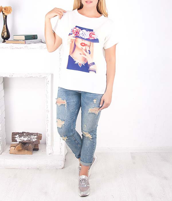 """Женская футболка с удлиненной спинкой """"Хэт"""" до 64 размера"""