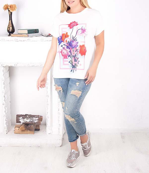 """Женская футболка с удлиненной спинкой """"Букет"""" большого размера"""