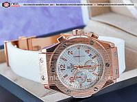 Кварцевые часы Hublot женские белые каучуковые без стразов золотые