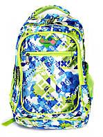 Рюкзак подростковый (школьный) 11 JM1971 синий/салат, рюкзак для школы, рюкзак недорого, дропшиппинг украина