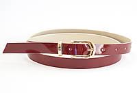 Красный лаковый тонкий ремешок кожзам для женщин (100646)
