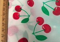 Ткань принт шифон вишни белая D&G