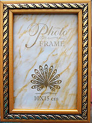 Рамка деревянная  10х15 золотистая