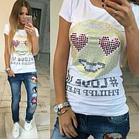 Стильная футболка.Производство Турция.Размер - универсал(42-44-46).Состав 95% хлопок,5% лайкра