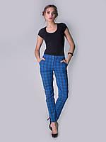 Синие брюки IVKO Woman из тонкого хлопка с геометрическим узором