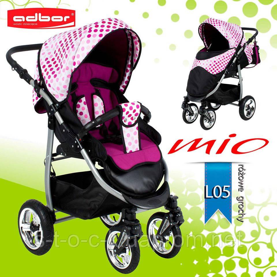Adbor MIО special edition прогулочная коляска с надувными колёсами. Цвет:розовый в горошек