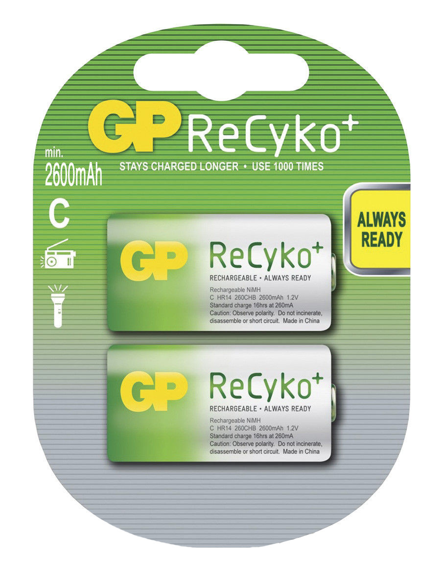Аккумуляторы GP ReCyko+ С (R14) 2600mAh LSD 2шт ,1.2V
