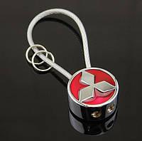 Брелок круглої форми з логотипом Mitsubishi, хром/червоний