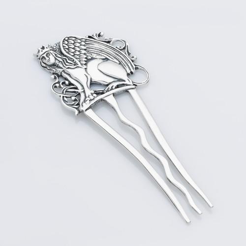 Серебряный гребень для волос Сфинкс