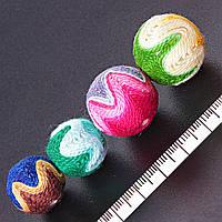 [17, 23мм]  Бусины обшитые разноцветные, сквозное отверстие, цена за 1 шт