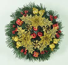 Венок новогодний украшенный 0422 RG, фото 3