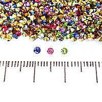 Камушки стразы разноцветные ассорти№8,d-2mm цена за упаковку