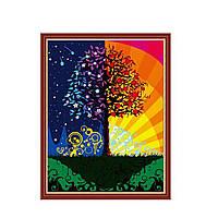 """KHO 224  """"Дерево счастья"""" Роспись по номерам на холсте (без коробки) 40х50см"""