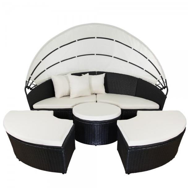 Лежак кровать пляжная из ротанга, фото 1