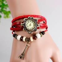 Женские часы-браслет винтажные красные Эйфелева Башня, фото 1