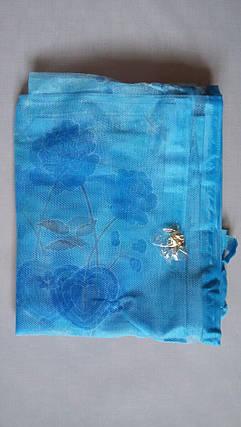 Антимоскитная сетка на магнитах в дверной проем, голубая в цветочки 100*210 см, фото 2
