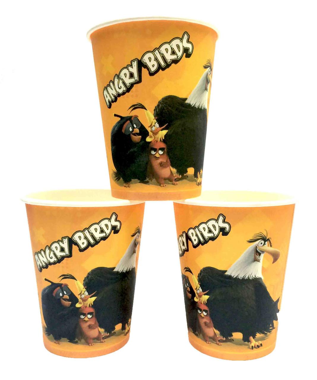 """Стаканчики """"Angry Birds"""" (желтые). Объём-250мл. В упак:10 шт."""