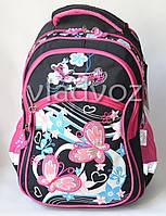 Школьный рюкзак для девочки подростка бабочка чёрный с малиновым
