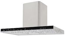Pyramida T-900 (900 мм.) декоративная кухонная вытяжка нержавеющая сталь / черное стекло