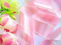 Лента атласная 5см нежно-розовая