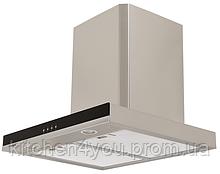 Pyramida T-600 (600 мм.) декоративная кухонная вытяжка, нержавеющая сталь / черное стекло
