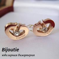Сережки CARTIER ювелірна біжутерія золото 14К кристали Swarovski